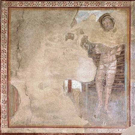 f - Saint Roch et saint Sébastien.Au milieu la jambe de saint Roch (plaie due à la peste).A droite, saint Sébastien criblé de fléches.