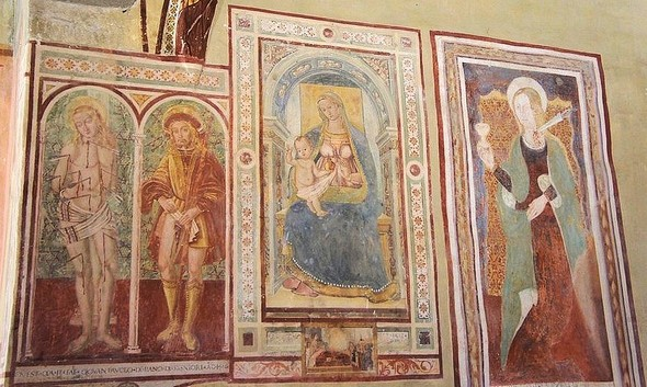 Vue d'ensemble des 4 premières fresques.