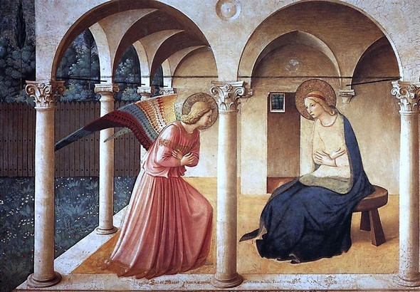 Fra Angelico.L'Annonciation.Fresque.Vers 1450Couvent saint Marc (Florence).