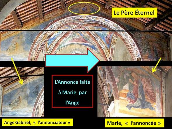 L'Annonce faite à Marie.Face antérieure de l'abside.Chiesa di San Michele Arcangelo.