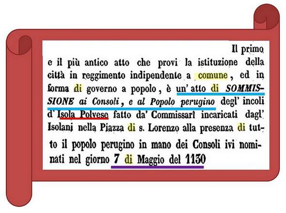 Acte de soumission de l'Isola Polvese à la cité de Perugia.1130