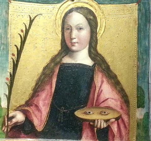Sainte Lucie de Syracuse.Par Gandolfino da Roreto (Turin).Détail de sa première oeuvre : un polyptique :Ascension et couronnement  de la Vierge et des saints.Galleria Sabauda.1493
