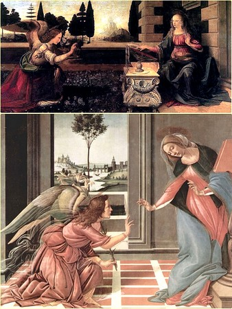 HAUT L'Annonciation.Léonard de Vinci.1473-1475BASL'Annonciation.Botticelli.1489-1490