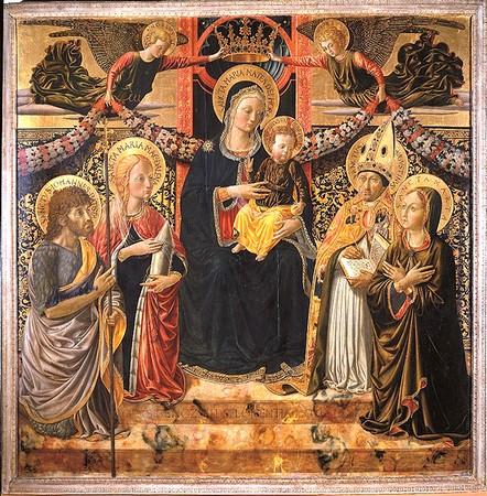 La Madone et l'Enfant, deux anges, sainte  Marie Madeleine, saint Jean Baptiste, saint Augustin et sainte Marte.Tempera su tavola.1466- 1467 Museo Civico (San Gimignano