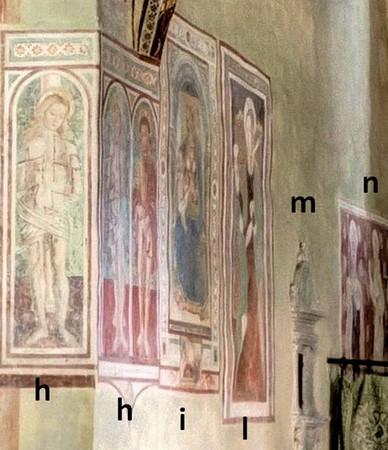 Vue sur l'ensemble des fresques de la partie basse gauche de l'abside.