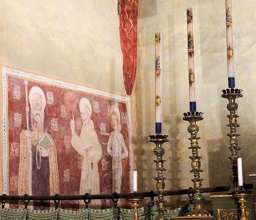 """Saint Antoine abate, saint Bernardin de Sienne, saint Sébastien.<br />( de gauche à droite).<br />Par un artiste très """"modeste"""".<br />Fin du XV° ou premières années du XVI°."""