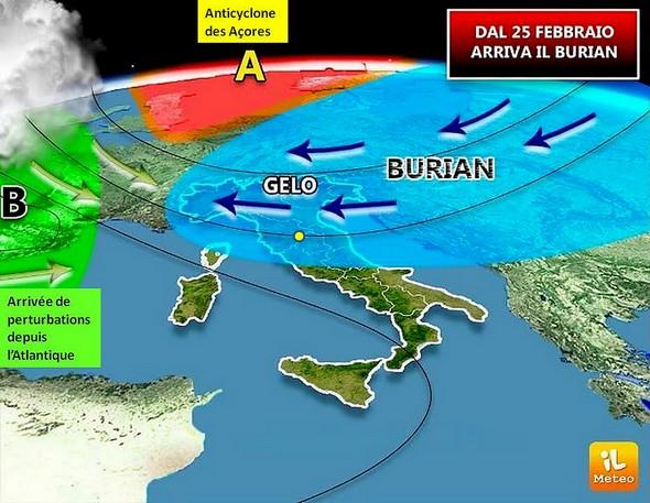Il Burian.Carte météo prévisionnelle.20 février 2018