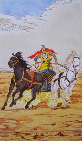 Le Chariot.Tarot de Sharman-Caselli.Le chariot est tiré dans deux directions opposées !