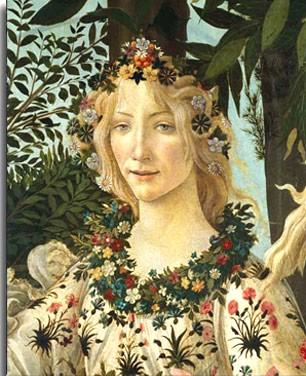 Flora, dea della Primavera.Sandro Botticelli.La Primavera.1478-1482